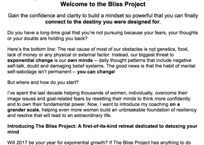 The Bliss Project Sales Copy